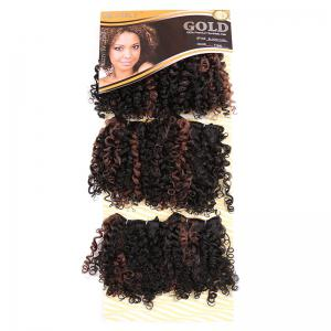 6PCS Short Fluffy Colormix Bloom Afro Curly Synthetic Hair Wefts