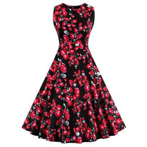 Vintage Floral Party Skater Dress - Black - 2xl