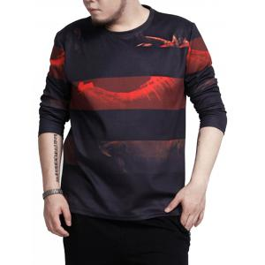 Crew Neck Stripe Print Plus Size Tee - Black - 7xl