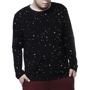Plus Size Crew Neck Paint Splatter Tee - Black - 7xl