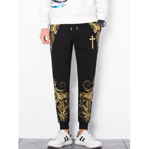 Retro Flower Print Drawstring Jogger Pants