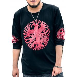 Plus Size Crew Neck Printed Tee - Black - 7xl