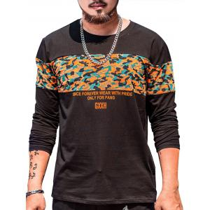 Long Sleeve Plus Size Camo Graphic Tee