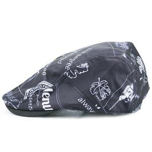 Street Snap Flat Hat with Cartoon Pattern - Black - One Size