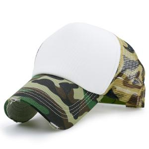Broken Hole Mesh Splicing Baseball Cap - Acu Camouflage