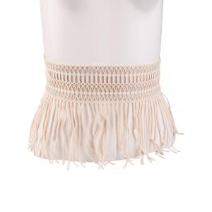 Snap Button Fringed Woven Elastic Corset Belt
