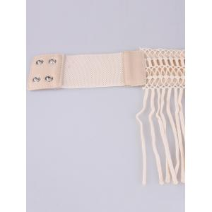 Snap Button Fringed Woven Elastic Corset Belt - YELLOWISH PINK