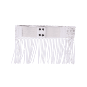 Snap Button Fringed Woven Elastic Corset Belt - WHITE