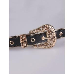 Engraved Vintage Pin Buckle Faux Leather Belt -