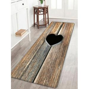 Heart Wood Grain Flannel Antislip Bathroom Rug