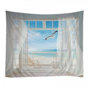White w59 inch l51 inch balcony beach print tapestry for Balcony wall decoration