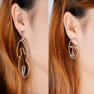 Asymmetric Graphic Face Drop Earrings - Silver