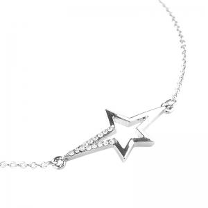 Rhinestone Star Chain Anklet - SILVER