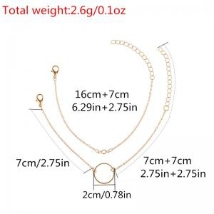 Alloy Rhinestone Circle Chain Bracelet Set -