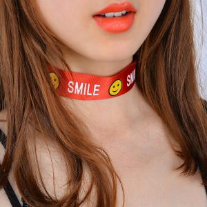 Smile Funny Face Choker Necklace - Red - M