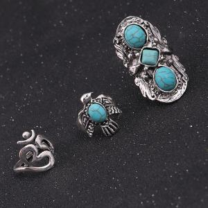 Faux Turquoise Floral Fly Eagle Ring Set - Argent