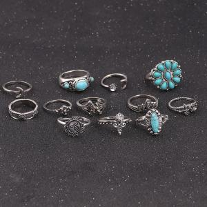 Faux Turquoise Moon Sun Flower Ring Set -
