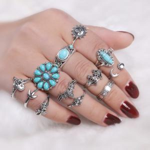 Faux Turquoise Moon Sun Flower Ring Set - Silver - One-size