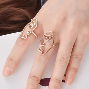 Funny Alloy Heart Face Ring Set - Golden - One-size