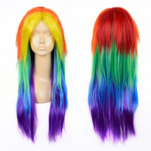 Middle Part Long Layered Straight My Little Pony Rainbow Dash Cosplay Wig