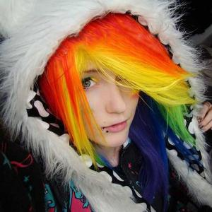 Partie moyenne Long Layered Straight My Little Pony Rainbow Dash Cosplay Wig - Coloré