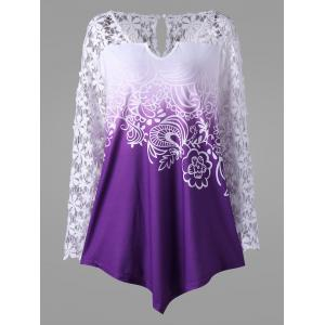 Plus Size Ombre Lace Yoke Top - Purple - 5xl