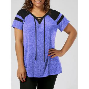 Plus Size Lace Up Raglan Sleeve Top