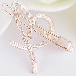 Rhinestone Hollow Out Letter A Hair Clip - WHITE