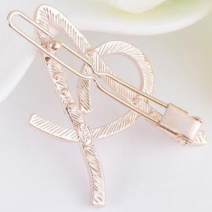 Strass Hollow Out Letter A Hair Clip - Pourpre