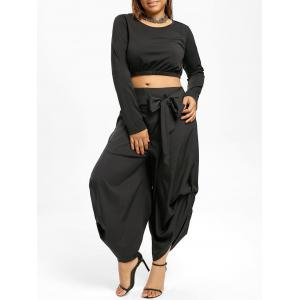 Plus Size Zipper Back Top with Parachute Pants