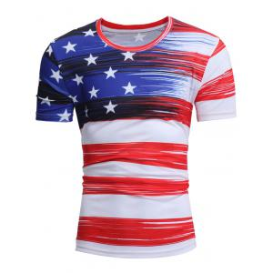 Short Sleeve American Flag Print Tee - WHITE 3XL