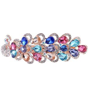 Rhinestone Inlaid Faux Gem Peacock Design Barrette - COLORFUL