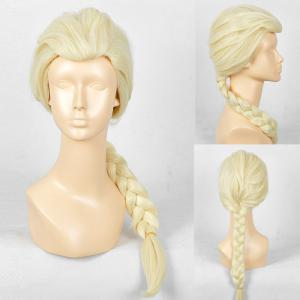 Long Braided Straight Frozen Snow Queen Elsa Cosplay Wig - Yellow