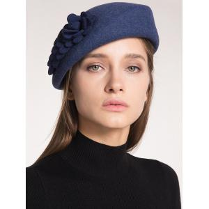 Woolen Flower Design Pillbox Hoop Hat - PURPLISH BLUE
