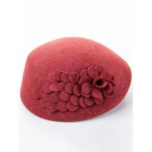 Woolen Flower Design Pillbox Hoop Hat -