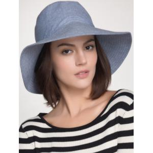 Plain Cotton Blend Bucket Sun Hat - Blue