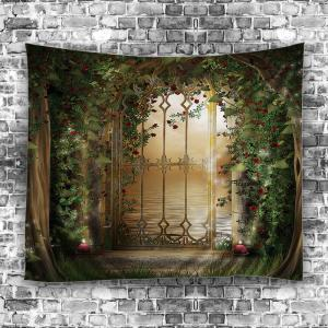 Tapestry Wall Hanging green w79 inch * l59 inch floral door lake print tapestry wall