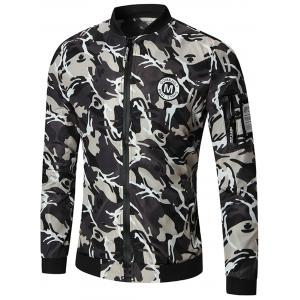 Patch Design Zip Up Camo Bomber Jacket