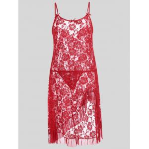 Plus Size Lace Ruffle Sheer Slip Dress - Red - 2xl