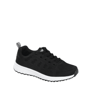 Breathable Eyelet Embroidery Athletic Shoes - BLACK 37