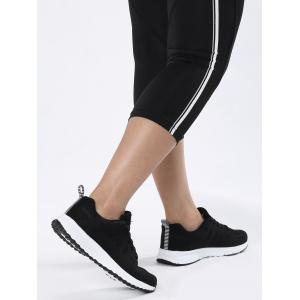 Breathable Eyelet Embroidery Athletic Shoes - BLACK 38