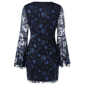 Bell Sleeve Lace Up Lace Dress - BLACK M