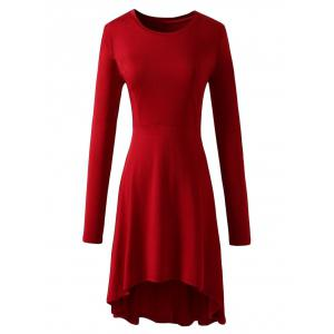 High Low Long Sleeve Flare Dress