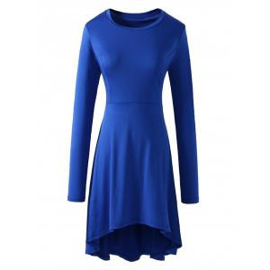 High Low Long Sleeve Flare Dress - Blue - S