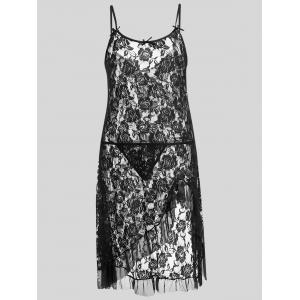 Plus Size Lace Ruffle Sheer Slip Dress - Black - 2xl