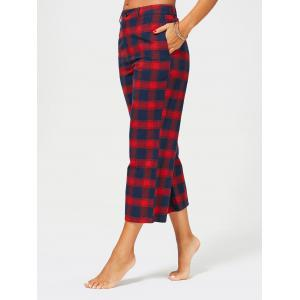 Tartan Plaid Print Capri Straight Pants -
