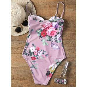 One Piece Keyhole Floral Swimsuit - PINK S