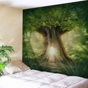Mew Big Tree Wall Hanging Home Decor Tapestry - Green - W71 Inch * L79 Inch