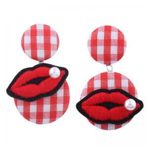 Faux Pearl Embroidery Lips Plaid Earrings - Red - One Size