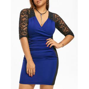 Ruched Lace Trim Plus Size Surplice Dress